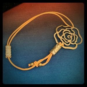 Handmade leather and bronze rose bracelet